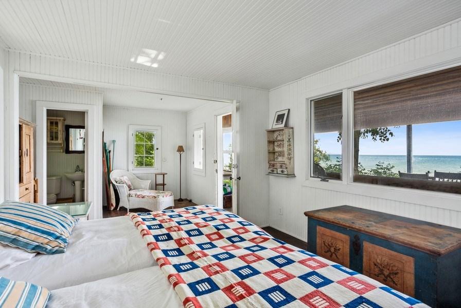 Real Estate Photography - 15120 Lakeshore Road, Lakeside, MI, 49116 - Beach House Bedroom to 1/2 bath