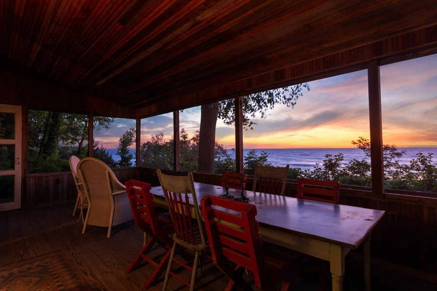 Real Estate Photography - 15120 Lakeshore Road, Lakeside, MI, 49116 - Beach House Dining Sunset