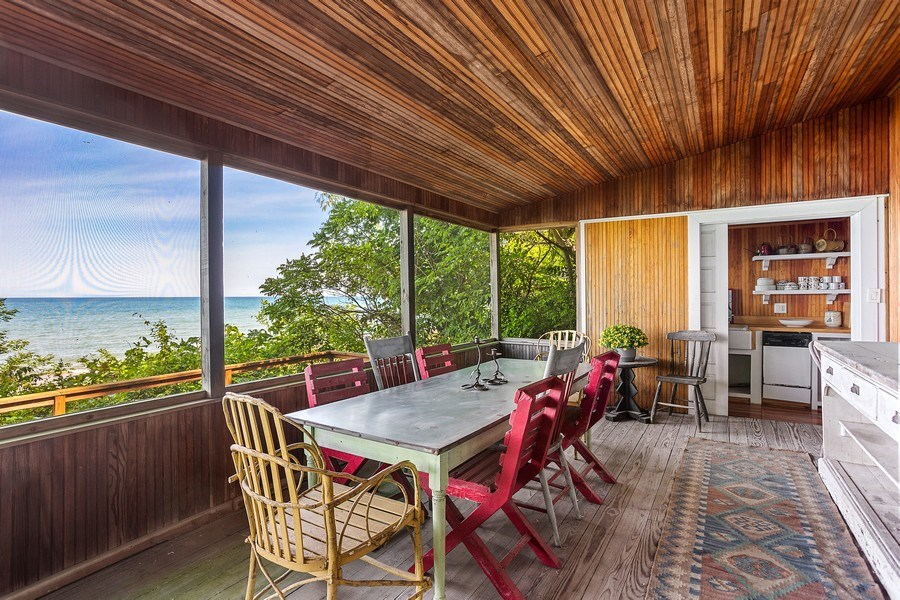 Real Estate Photography - 15120 Lakeshore Road, Lakeside, MI, 49116 - Beach House Dining & Service Area