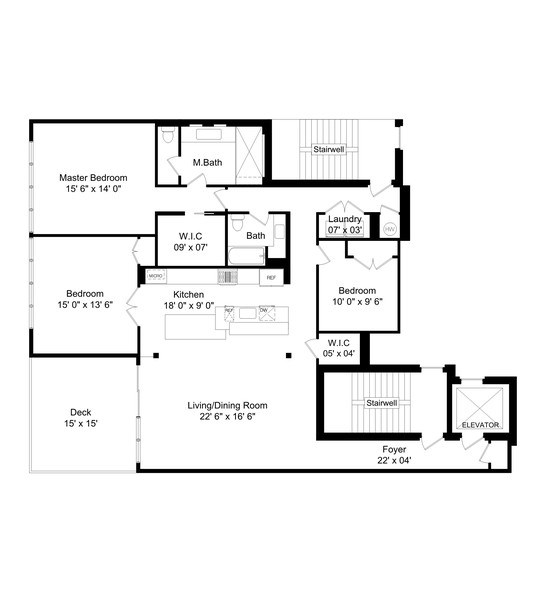 Real Estate Photography - 1904 W. Division, #3S, Chicago, IL, 60622 - Floor Plan
