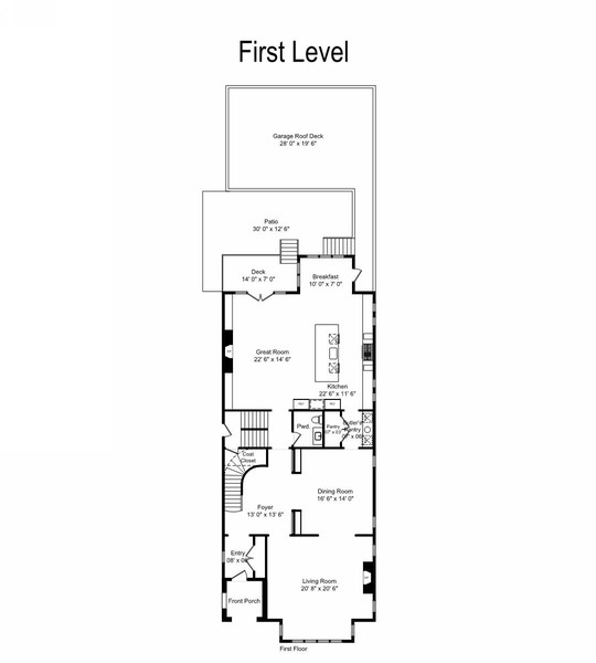 Real Estate Photography - 3754 N. Janssen, Chicago, IL, 60613 - Floor Plan