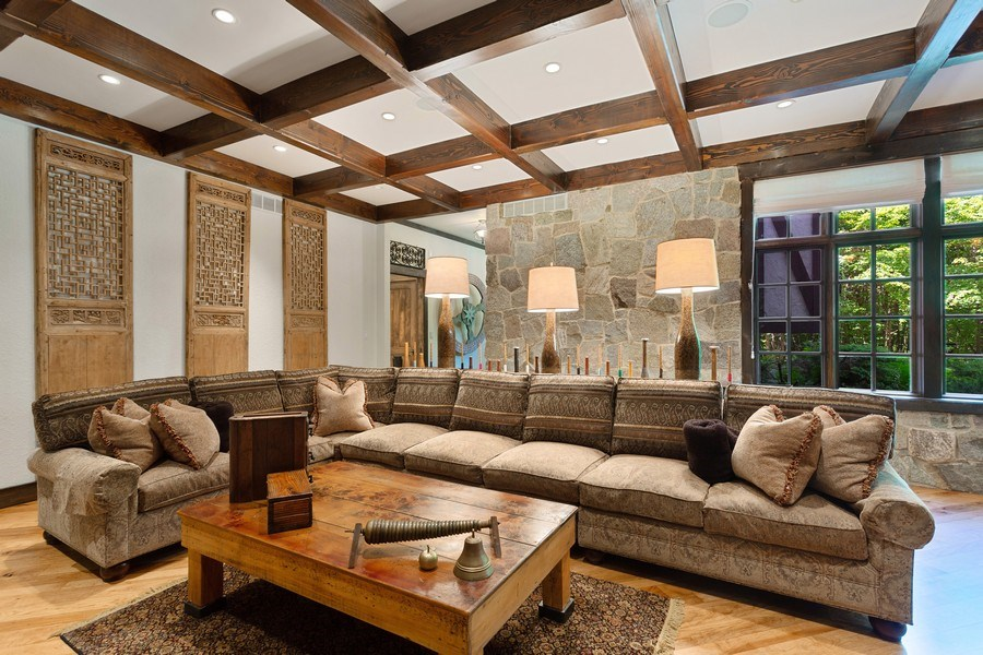 Real Estate Photography - 7020 Youngren Rd, Three Oaks, MI, 49128 - Living Room Coffered Ceilings & Stone