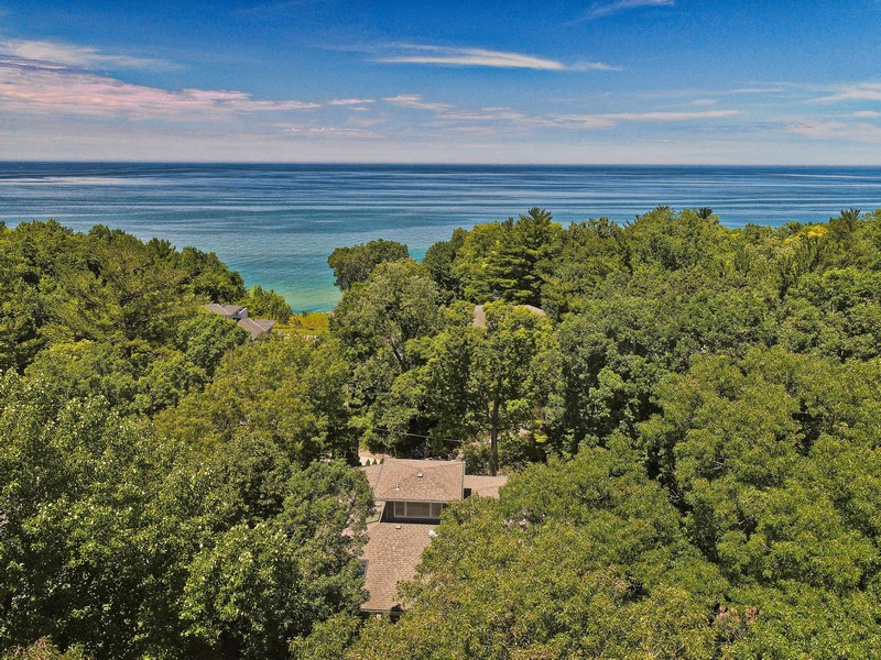 Real Estate Photography - 14458 Ridgeview Drive, New Buffalo, MI, 49117 - Aerial View - House to Lake Michigan