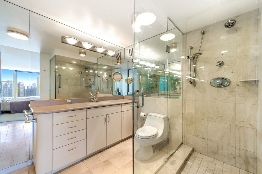 Real Estate Photography - 505 N Lakeshore Dr, Unit 3907, Chicago, IL, 60611 - Master Bathroom