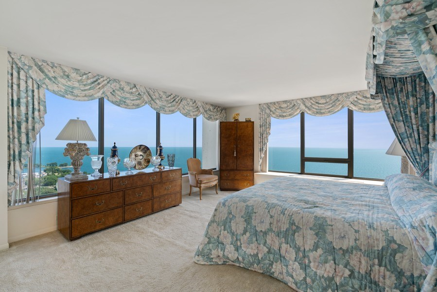 Real Estate Photography - 2800 N. Lake Shore Dr, #3401-3402, Chicago, IL, 60657 - Master Bedroom