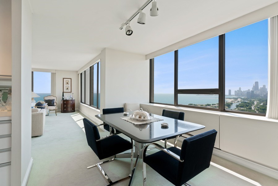 Real Estate Photography - 2800 N. Lake Shore Dr, #3401-3402, Chicago, IL, 60657 - Dining Room