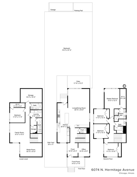 Real Estate Photography - 6074 N. Hermitage, Chicago, IL, 60660 - Floorplan