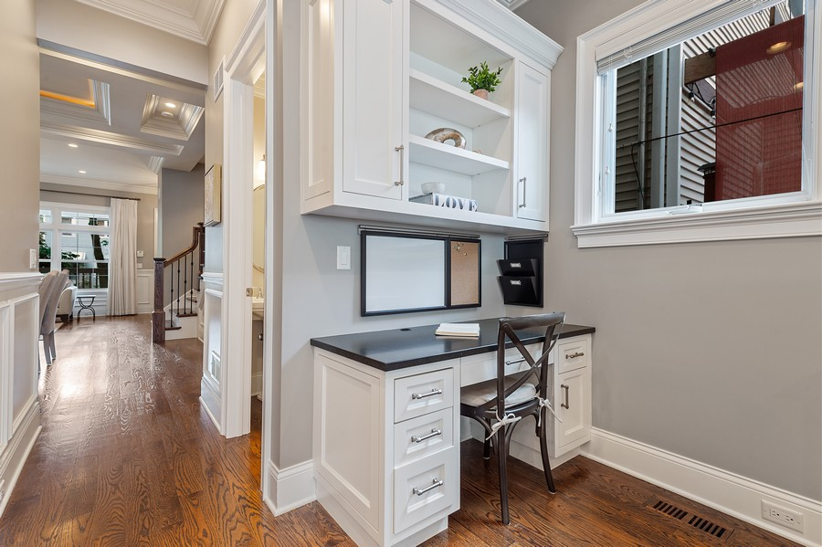 Real Estate Photography - 2019 W. Melrose St, Chicago, IL, 60618 - Kitchen Desk