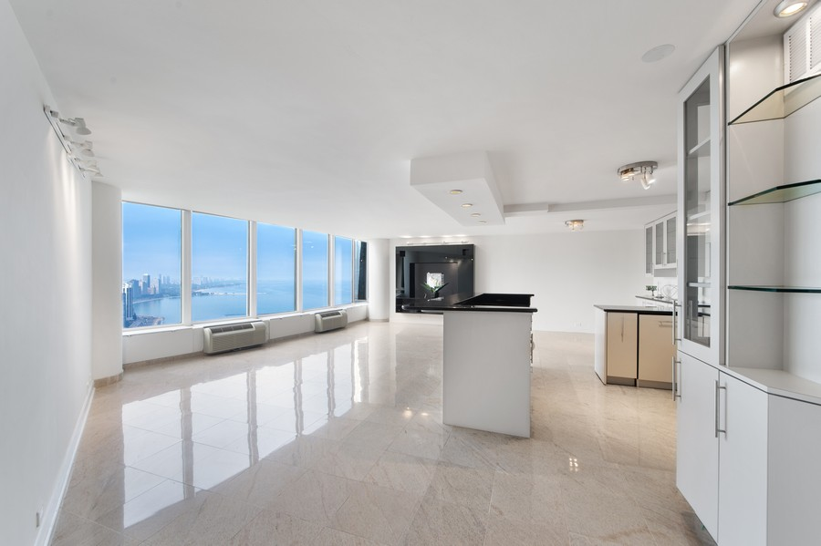 Real Estate Photography - 505 N Lake Shore Drive, Unit 4412, Chicago, IL, 60611 - Kitchen / Living Room