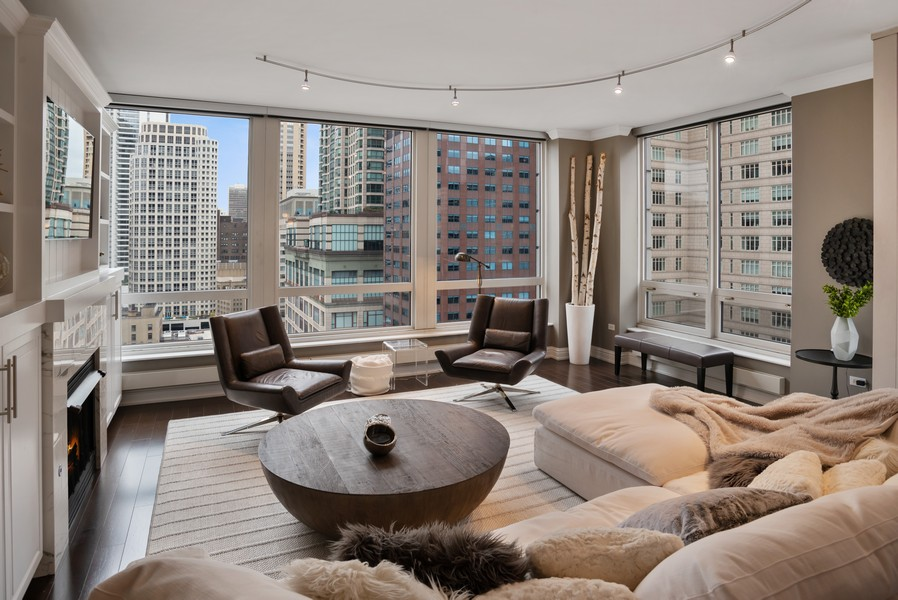 Real Estate Photography - 55 E Erie Unit 1803, Chicago, IL, 60611 - Living Room