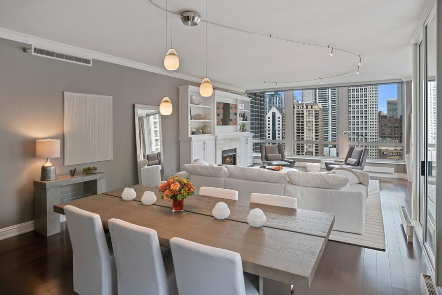 Real Estate Photography - 55 E Erie Unit 1803, Chicago, IL, 60611 - Living Room/Dining Room