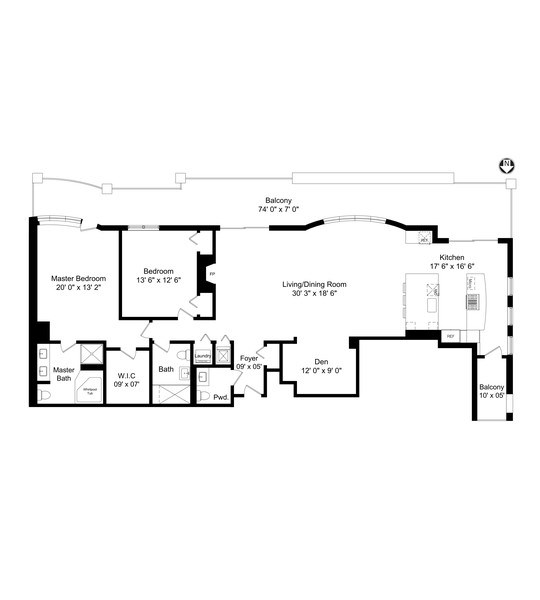 Real Estate Photography - 1133 S. State, #703, Chicago, IL, 60605 - Floor Plan