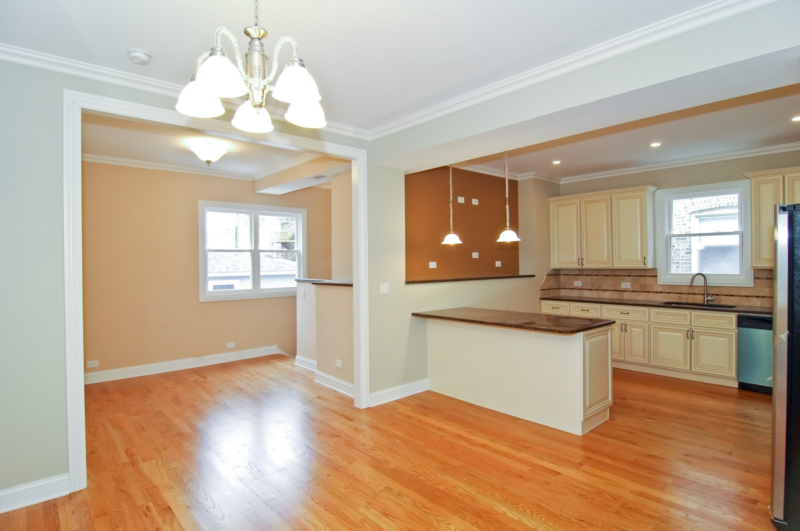 Real Estate Photography - 3743 W Wrightwood, Chicago, IL, 60647 - Kitchen/Family Room