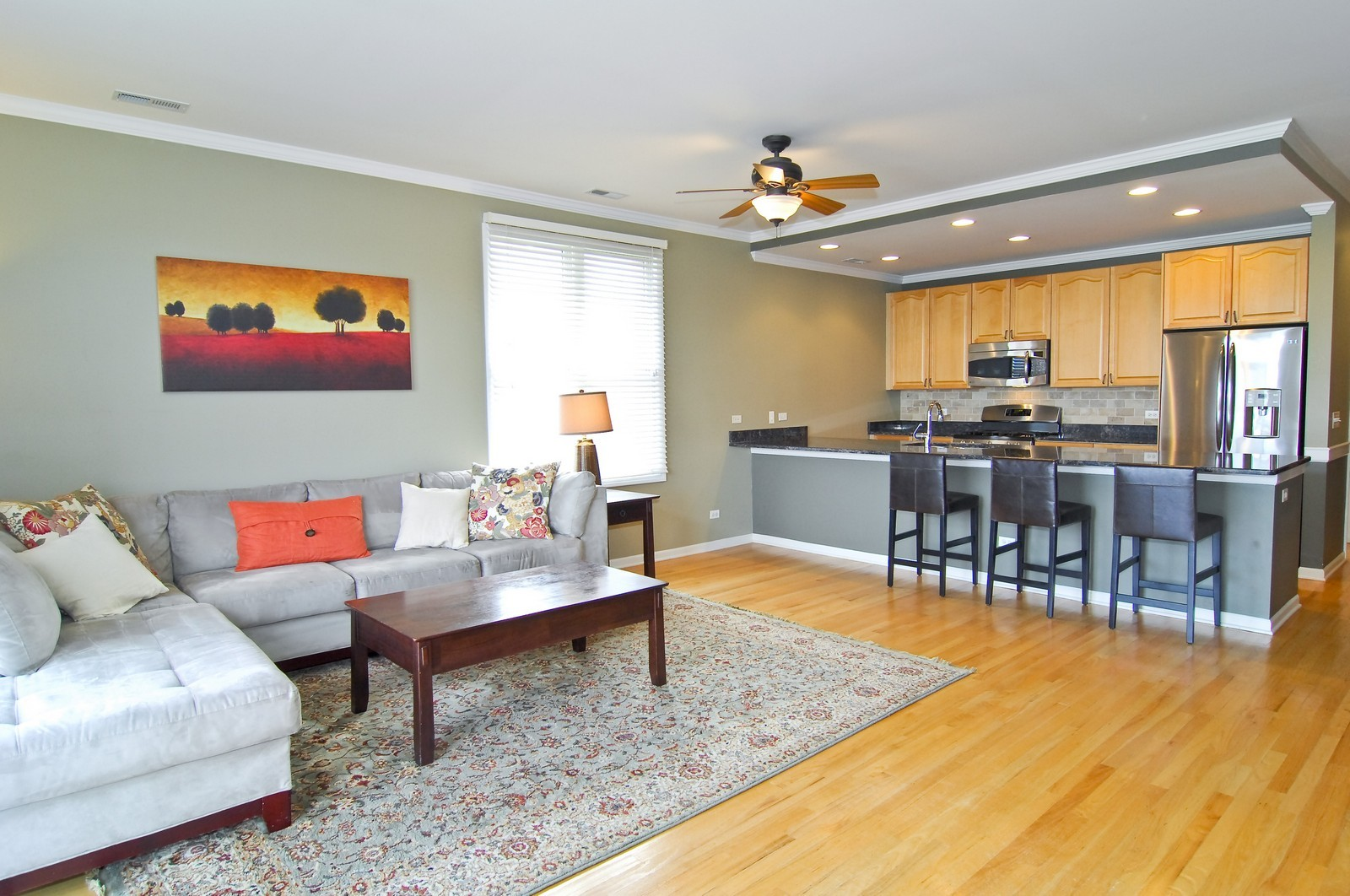 Real Estate Photography - 1555 W. School, 3E, Chicago, IL, 60657 - Kitchen / Living Room