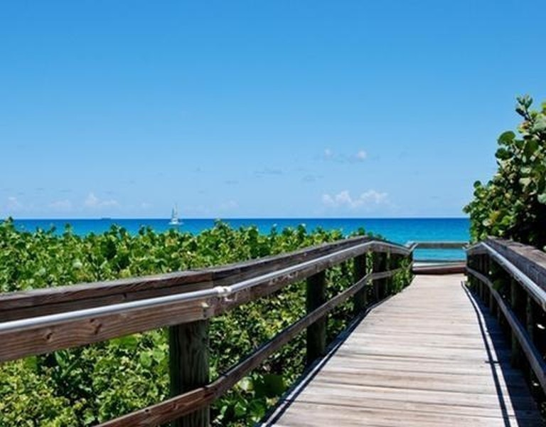 Real Estate Photography - 301 S. SEAS DR., APT. 302, JUPITER, FL, 33477 - BEACH ENTRANCE STEPS TO THE ATLANTIC OCEAN