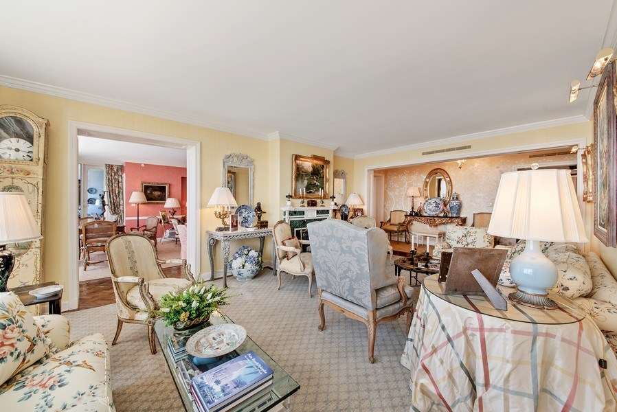 Real Estate Photography - 529 S Flagler Dr 26E/F, West Palm Beach, FL, 33401 - Formal Living Room With Decorative Fireplace