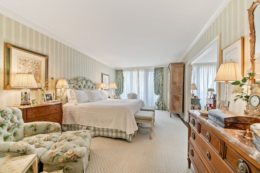 Real Estate Photography - 529 S Flagler Dr 26E/F, West Palm Beach, FL, 33401 - Gracious Master Bedroom With Long City Views West