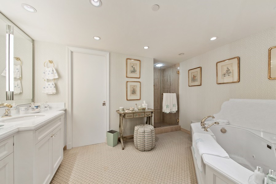 Real Estate Photography - 529 S Flagler Dr 26E/F, West Palm Beach, FL, 33401 - Marble Master Bathroom With Spa & Separate Shower