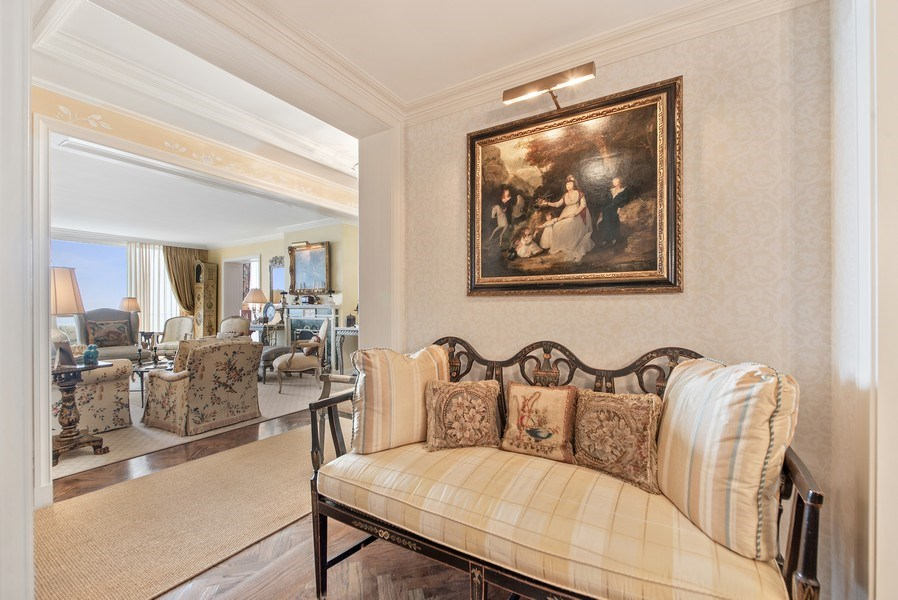 Real Estate Photography - 529 S Flagler Dr 26E/F, West Palm Beach, FL, 33401 - View Through Gallery To Living Room