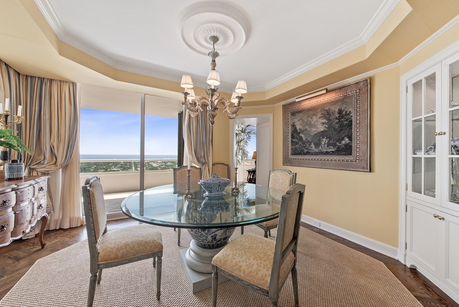 Real Estate Photography - 529 S Flagler Dr 26E/F, West Palm Beach, FL, 33401 - Breakfast/Card Room With Intracoastal & Ocean View
