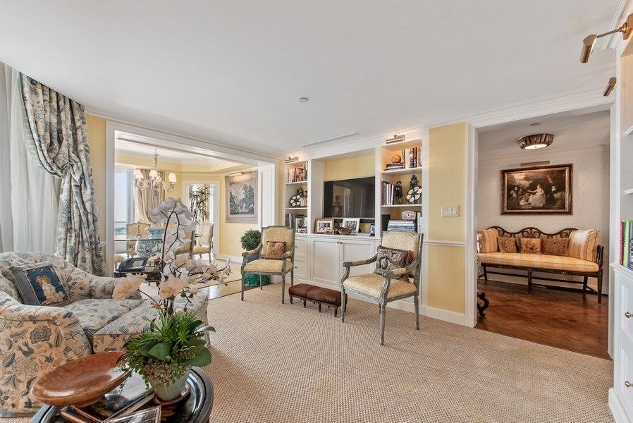 Real Estate Photography - 529 S Flagler Dr 26E/F, West Palm Beach, FL, 33401 - Library Opens To Breakfast/Card Room Beyond