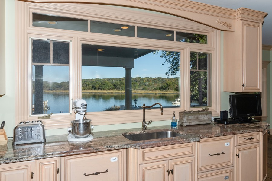Real Estate Photography - 28 Sea Spray Dr, Centerport, NY, 11743 - Water View From Kitchen Sink