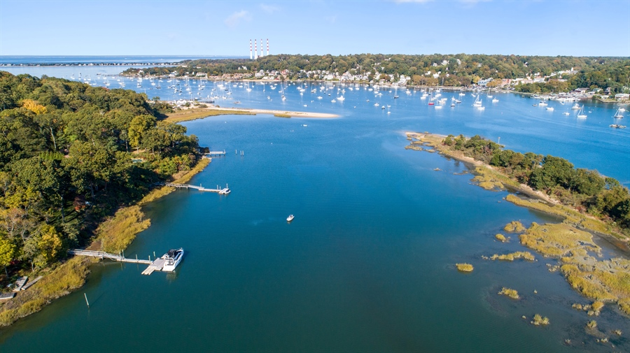 Real Estate Photography - 28 Sea Spray Dr, Centerport, NY, 11743 - Aerial View of Bird Island and Northport Harbor