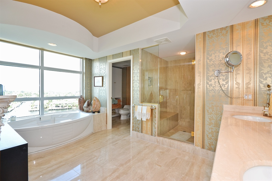 Real Estate Photography - 3720 S Ocean Blvd, Apt 901, Highland Beach, FL, 33487 - Master Bathroom