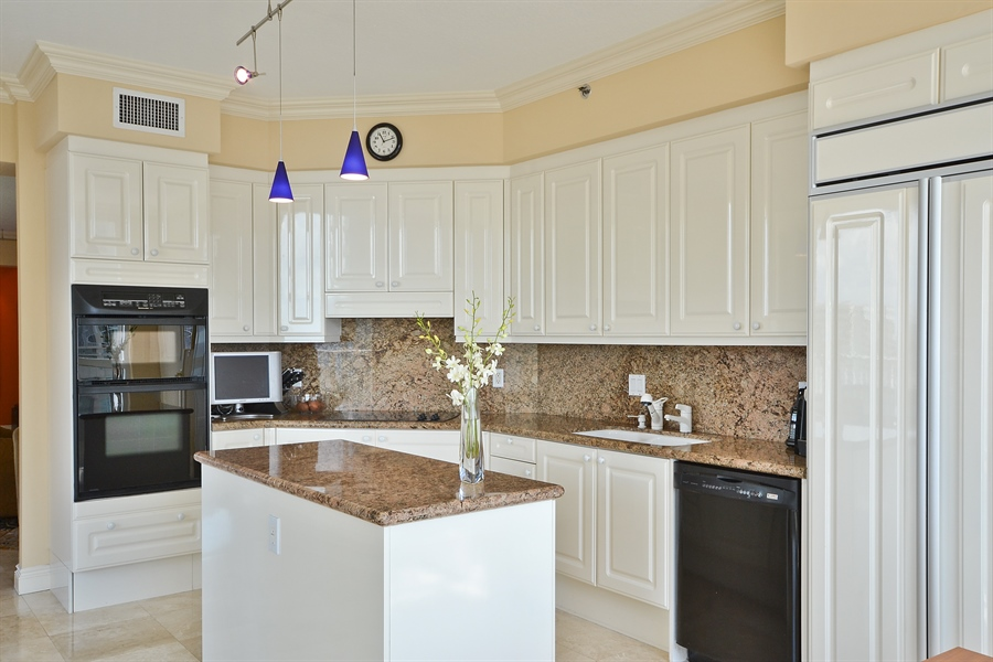 Real Estate Photography - 3720 S Ocean Blvd, Apt 901, Highland Beach, FL, 33487 - Kitchen