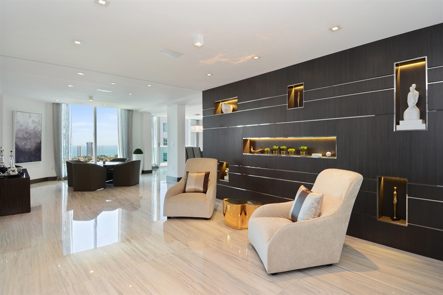 Real Estate Photography - 3301 NE 183rd St, Unit 3008, Aventura, FL, 33160 - Living Room