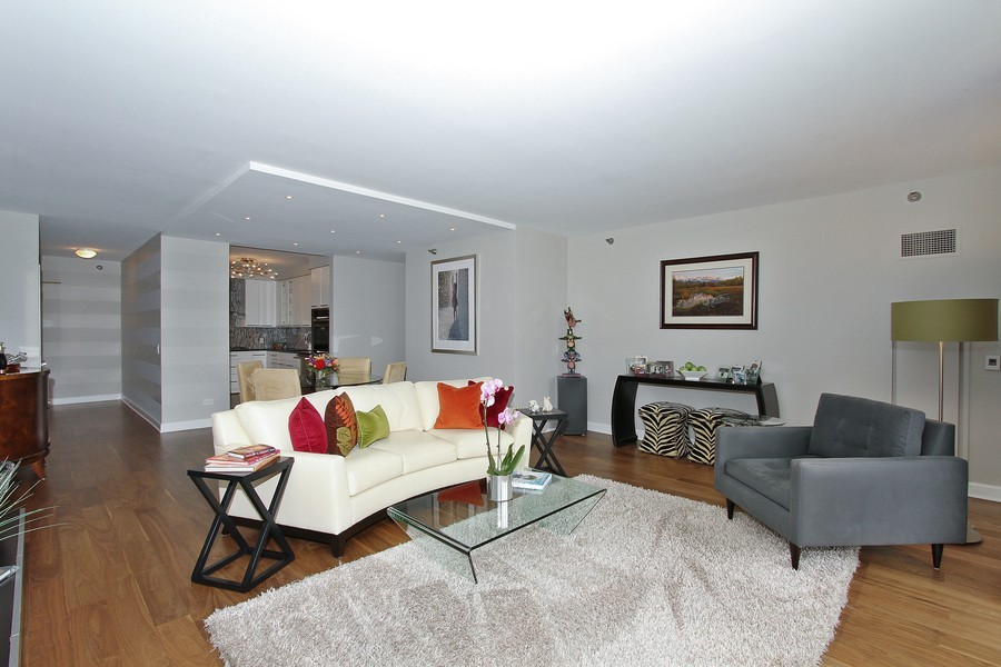 Real Estate Photography - 55 W Delaware Pl, Unit 501, Chicago, IL, 60610 - Living Dining Room Combo