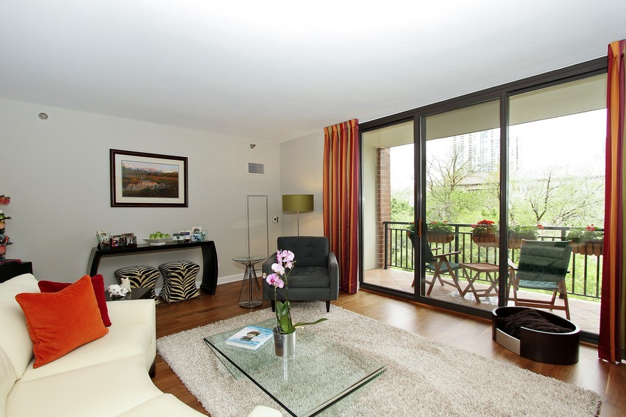 Real Estate Photography - 55 W Delaware Pl, Unit 501, Chicago, IL, 60610 - Living Room with Park View