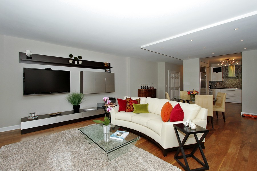 Real Estate Photography - 55 W Delaware Pl, Unit 501, Chicago, IL, 60610 - Living Dining Combo