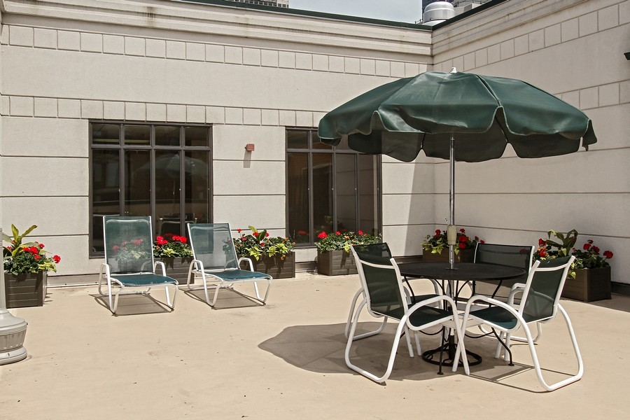 Real Estate Photography - 55 W Delaware Pl, Unit 501, Chicago, IL, 60610 - Resident Patio Area I of II