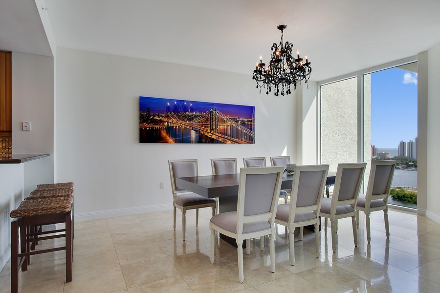 Real Estate Photography - 3201 NE 183 St, Unit 2805, Aventura, FL, 33160 - Dining Room