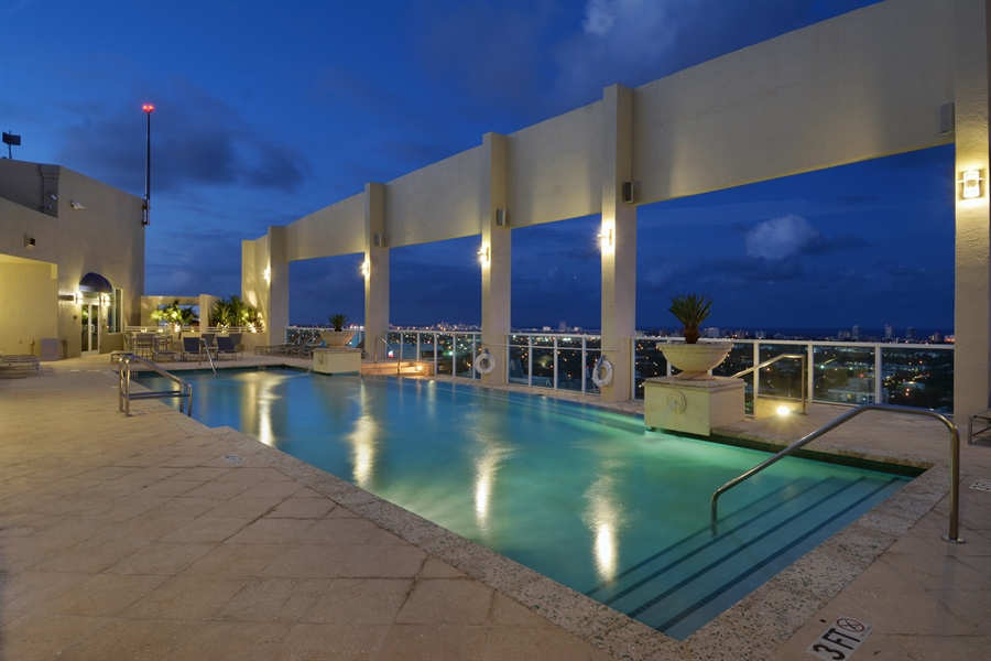 Real Estate Photography - 350 SE 2nd St, 2820, Fort Lauderdale, FL, 33301 - Evening at Rooftop Pool