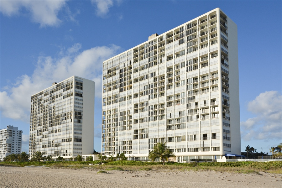 Real Estate Photography - 2800 S Ocean Blvd, Common Areas, Boca Raton, FL, 33432 - As seen from the BEACH (N to S)