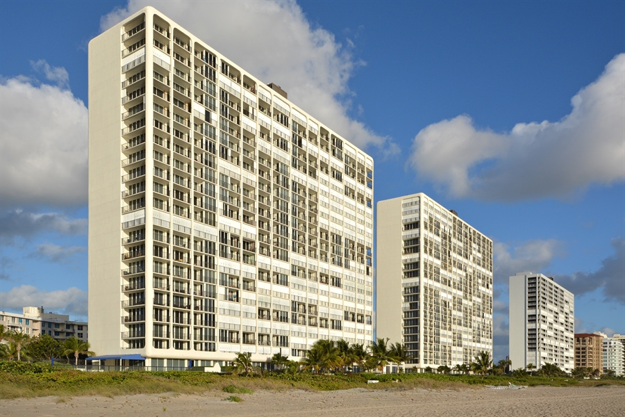 Real Estate Photography - 2800 S Ocean Blvd, Common Areas, Boca Raton, FL, 33432 - As seen from the BEACH (S to N)