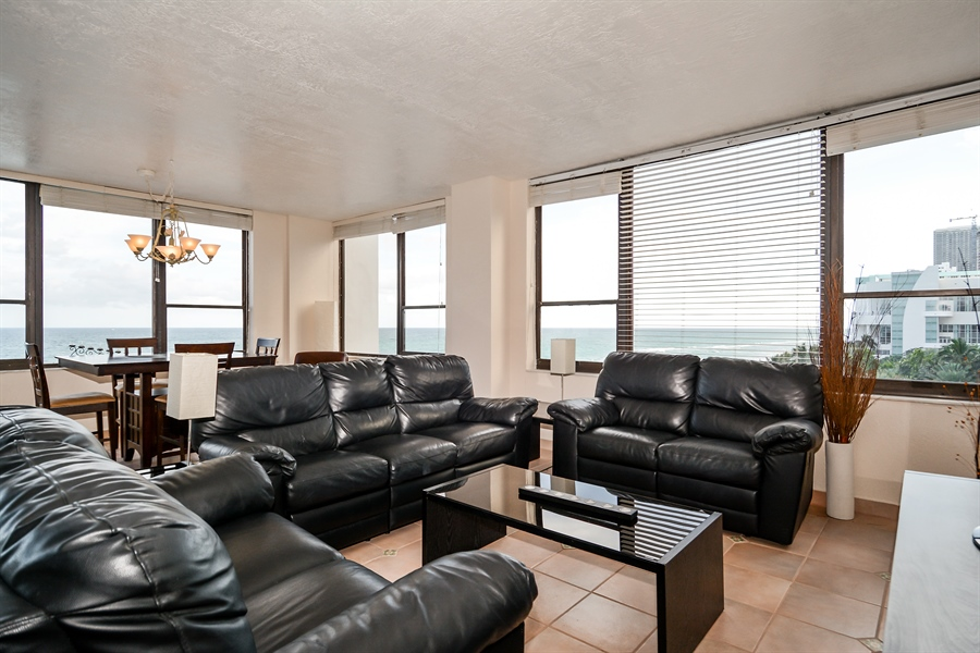 Real Estate Photography - 3505 S Ocean Dr, Unit 714, Hollywood, FL, 33019 - Living Room