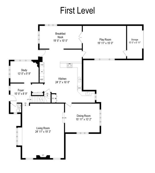 Real Estate Photography - 707 Taft Rd, Hinsdale, IL, 60521 - Floor Plan