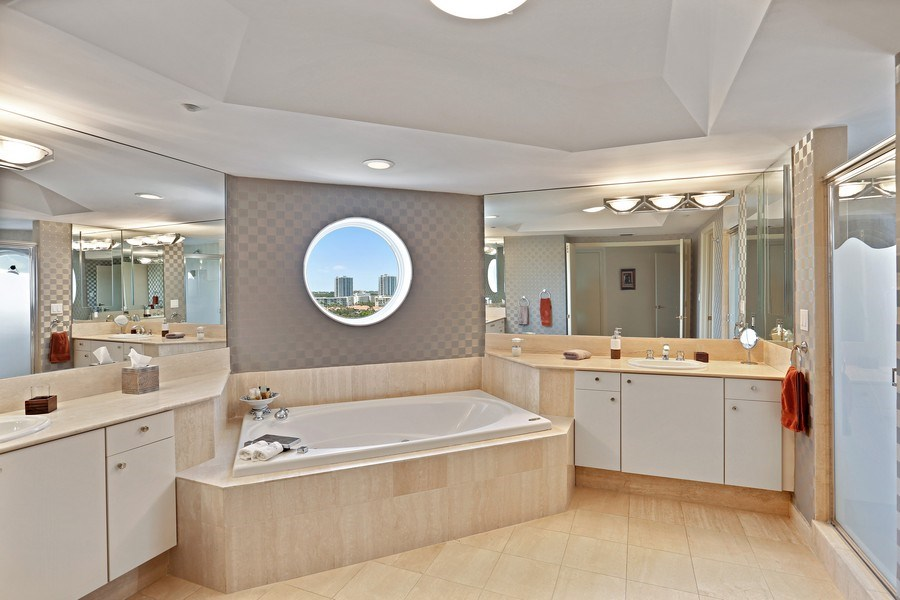 Real Estate Photography - 7000 Island Blvd, Apt 902, Aventura, FL, 33160 - Master Bathroom