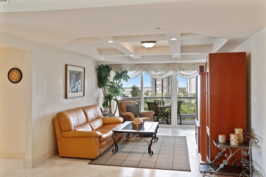 Real Estate Photography - 7000 Island Blvd, Apt 902, Aventura, FL, 33160 - Den_Family room