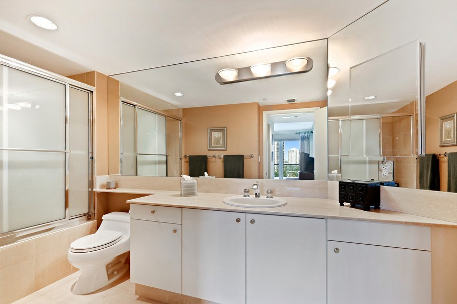 Real Estate Photography - 7000 Island Blvd, Apt 902, Aventura, FL, 33160 - 2nd Bathroom