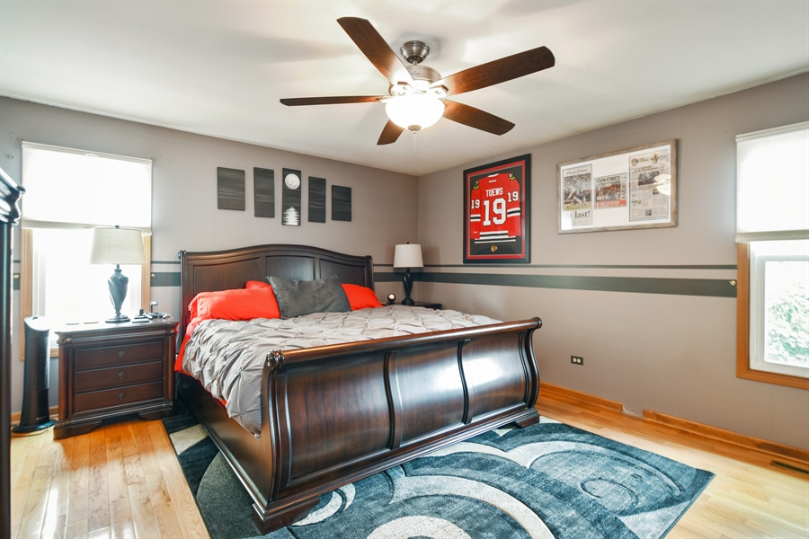 Real Estate Photography - 2946 W Nemesis Ave, Waukegan, IL, 60087 - Master Bedroom w/Solid Oak Floors