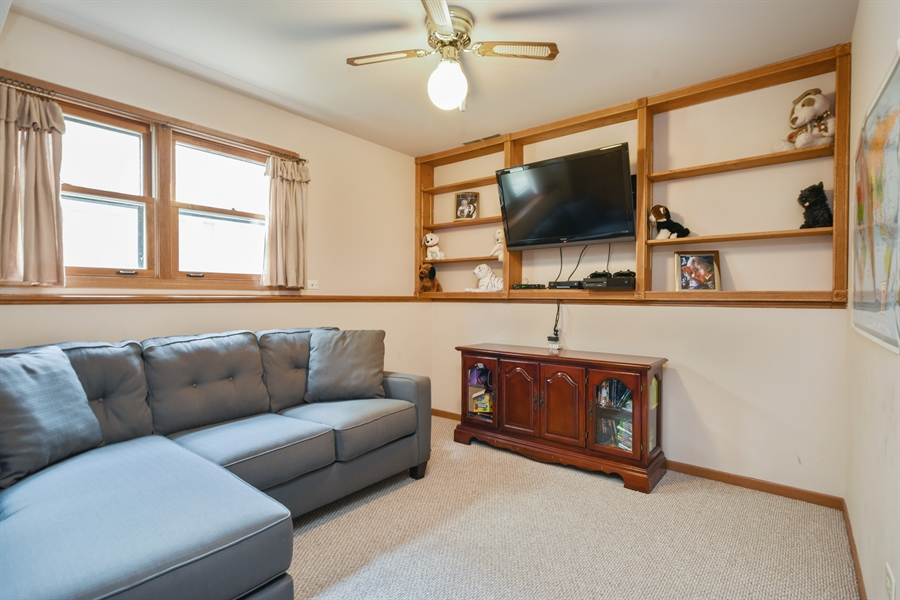 Real Estate Photography - 2946 W Nemesis Ave, Waukegan, IL, 60087 - Fourth Bedroom / Den with Built In Shelving