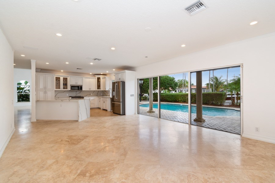 Real Estate Photography - 2641 NE 47th St, Lighthouse Point, FL, 33064 - Family Room / Kitchen