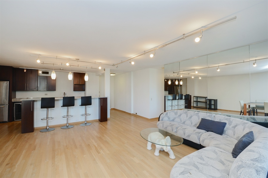 Real Estate Photography - 900 N. Lake SHore Drive, #1703, Chicago, IL, 60611 - Kitchen / Living Room