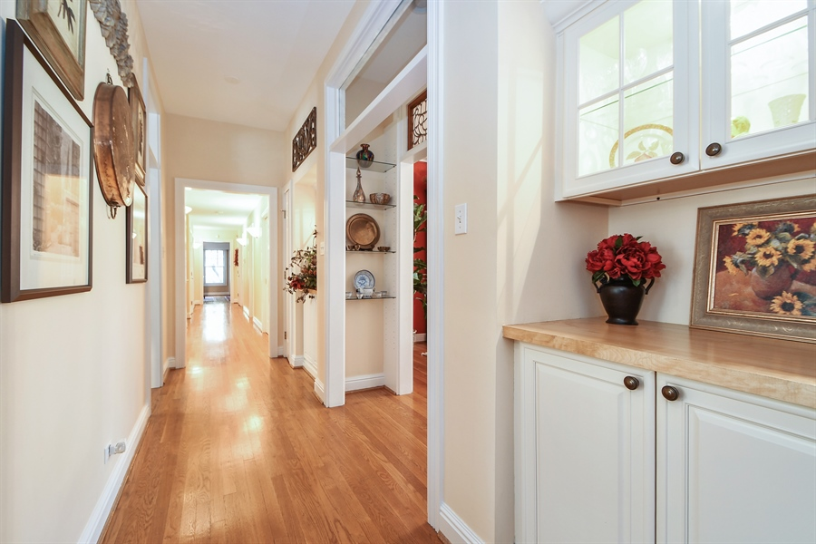 Real Estate Photography - 521 Durham Drive, Frankfort, IL, 60423 - Hallway with Custom Built-ins