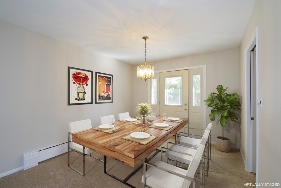 Real Estate Photography - 616 Harvard St, Wilmette, IL, 60091 - Dining Room  w/Acess to Patio - Virtually Staged