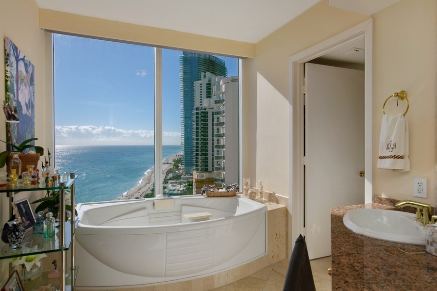 Real Estate Photography - 19333 Collins Ave, Apt 2001, Sunny Isles Beach, FL, 33160 - Master Bathroom